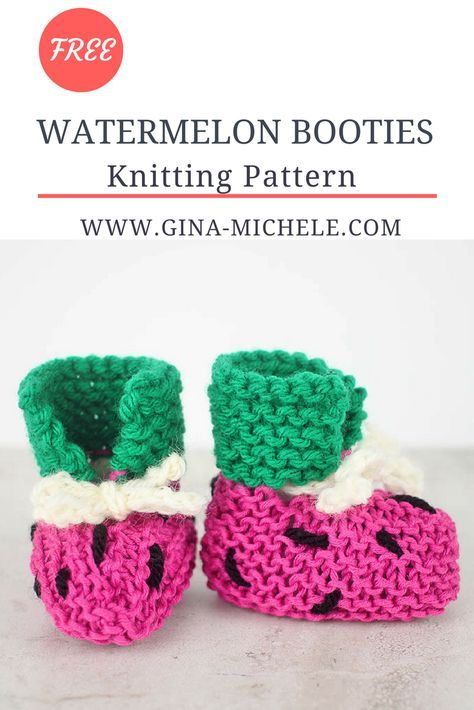 Easy Watermelon Baby Booties Knitting Pattern Watermelon Baby