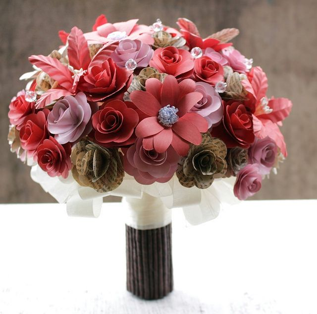 Book paper and Pink Paper bouquet..by www.thepaperflorists.com
