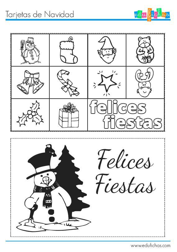 Tarjetas de NAvidad para colorear y recortar. Felices fiestas  http://www.edufichas.com/tarjetas/navidad-tarjetas/tarjetas-infantiles-de-navidad/  #free #cards #christmas #tarjetas #recortables