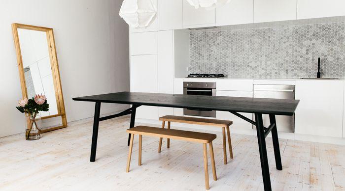 48mm Carrara Hexagonal Mosaics Design by C+M Studio, Photography by Caroline McCredie #carraramosaics #kitcheninspiration