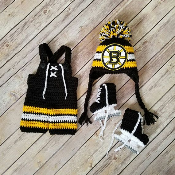 Check out this item in my Etsy shop https://www.etsy.com/listing/449031134/crocheted-newborn-bruins-hockey-set
