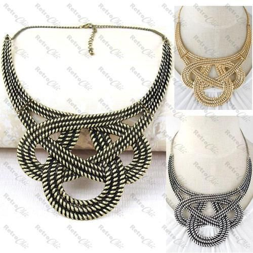 DIY Jewerly DIY Nautical Rope : DIY BIG KNOT rope COLLAR NECKLACE basket weave BOHO vintage brass/silver/gold pl BIB
