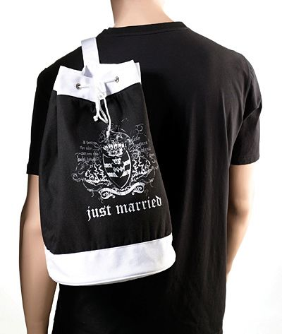 Just Married Beach Bag-Black