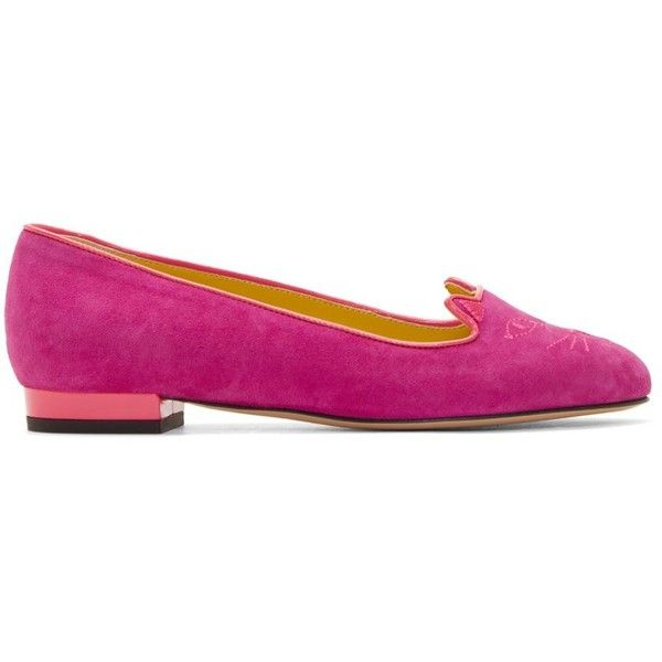 Charlotte Olympia Purple and Pink Embriodered Velvet Kitty Flats (595 CAD) ❤ liked on Polyvore featuring shoes, flats, purple flat shoes, pink flats, cat shoes, pink ballet shoes and velvet ballet flats