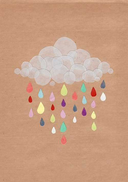 Lovely paper rain art -  this would look wonderful appliquéd on a cushion or quilt