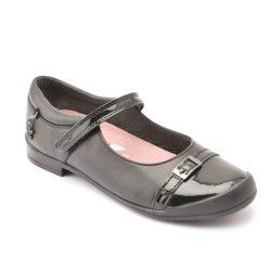 Black Leather/Patent Girls School Shoes