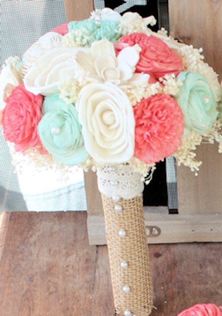 Ready To Ship Ivory Mint Coral Rustic Wedding by CuriousFloral