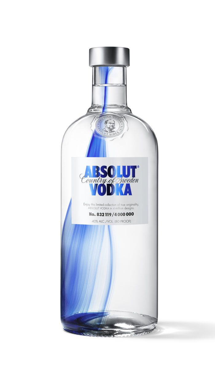 ABSOLUT Originality. This elegant limited collection features four million individually designed bottles, each made into a one-of-a-kind work of art with a drop of cobalt blue infused into the molten glass during production. Designed by Pernod Ricard, UK