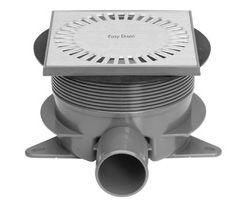 Easy Drain Aqua Briljant vloerput met ABS sifonhuis en inbouwdeel, met zij- en onderuitlaat inbouwdiepte 75-112mm met waterslot 50mm 15x15cm