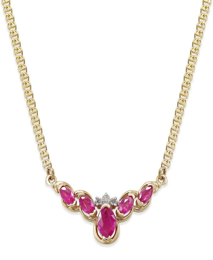 Ruby (3/4 ct. t.w.) and Diamond Necklace (3/4 ct. t.w.) in 14k Gold