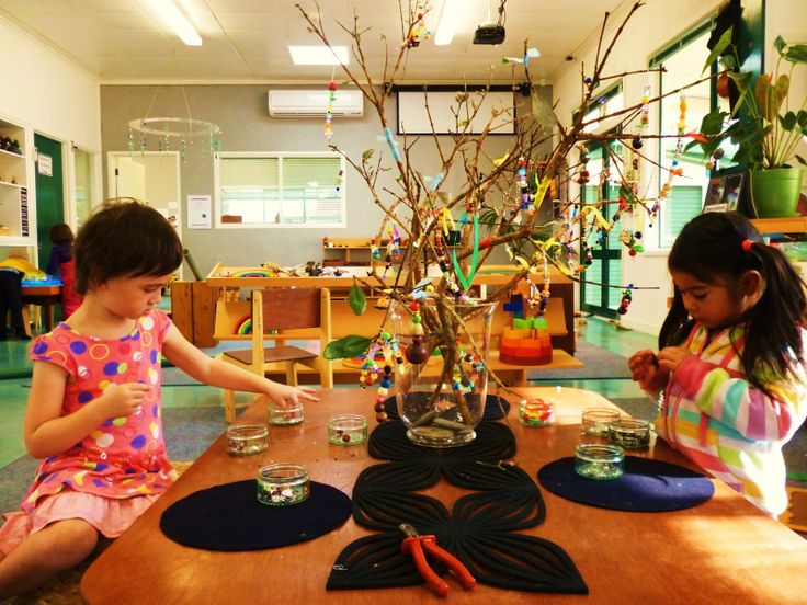 """Beautiful! The Beading Tree. """"When the children arrived back at Kindergarten after the term break they were greeted with the provocation of the beading tree. This was set up on the low table along with a wonderful array of small and large beads, pliable wire and ribbons."""""""