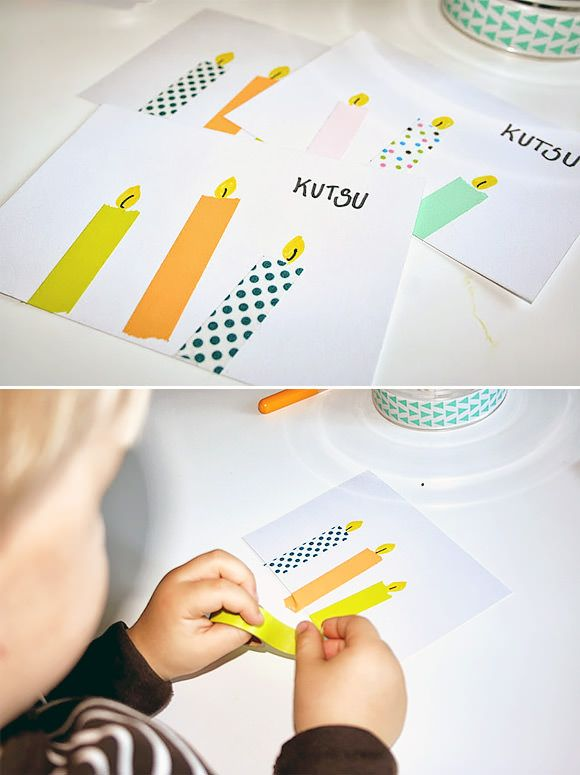 DIY Washi Tape Candle Cards - this is a cute idea for Hanukkah cards that the kids could make