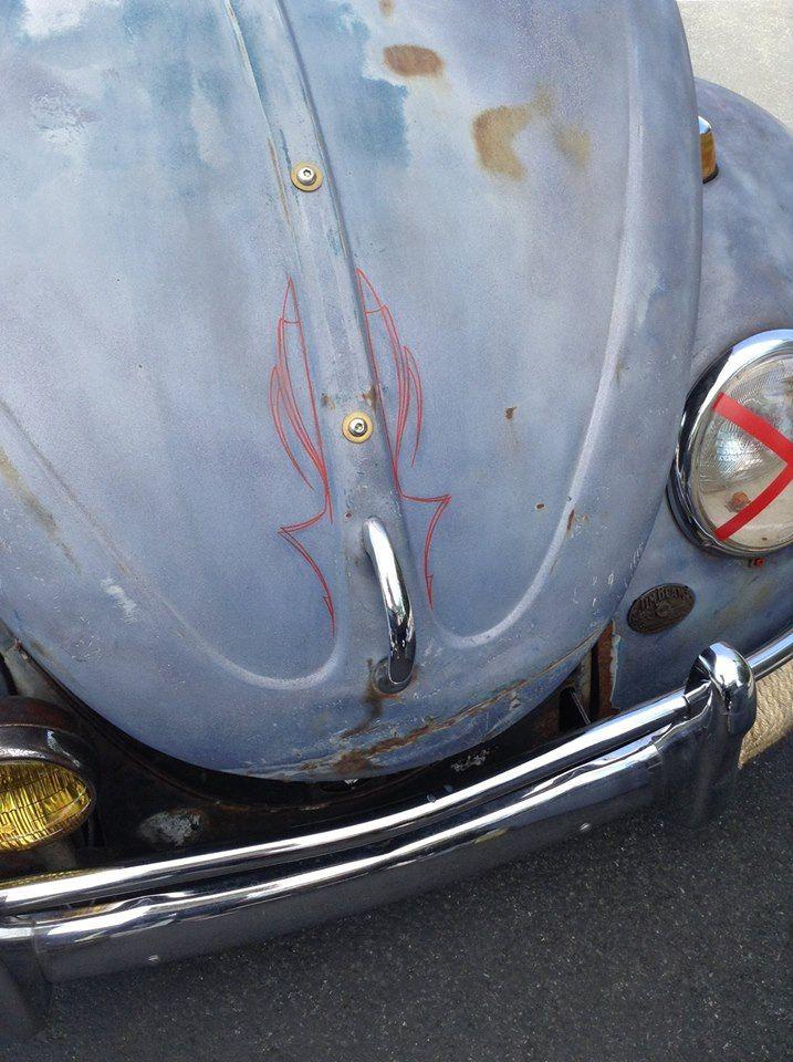 VW hoodride Bug pinstriped hood by Vané Pinstriping. Volkswagen Beetle, rat rod beetle. | Vané ...