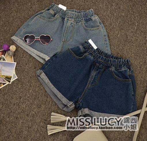 New 2015 Summer Curl Rim High Waist Denim Shorts For Woman Korean College Style…