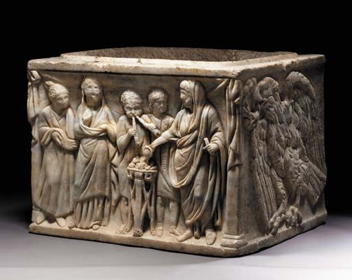 A ROMAN MARBLE CINERARY URN   Circa 2nd Century A.D.