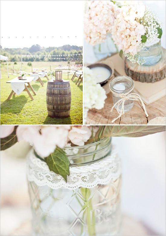 lace wrapped around mason jars