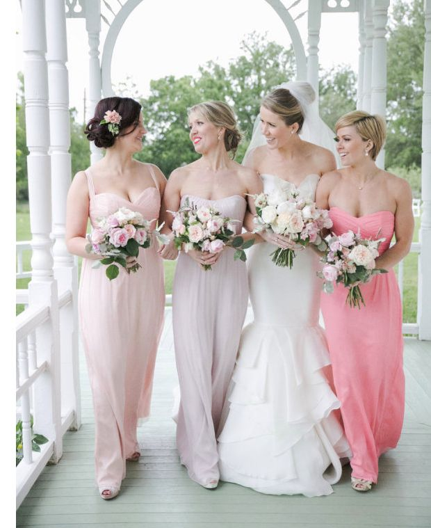 Multi color Amsale bridesmaid dresses on Style Me Pretty. Photo by Caroline Joy.