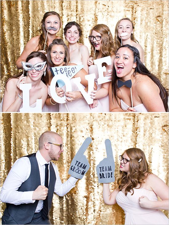 Instead of renting a photo booth, we could hand a sparkly gold backdrop & get a few (cheap) photo props from Etsy! Cheaper, easier, & cuter too!
