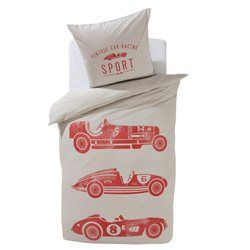 Parure housse de couette + taie pour enfant, Vintage Cars La Redoute Interieurs - Linge de lit enfant