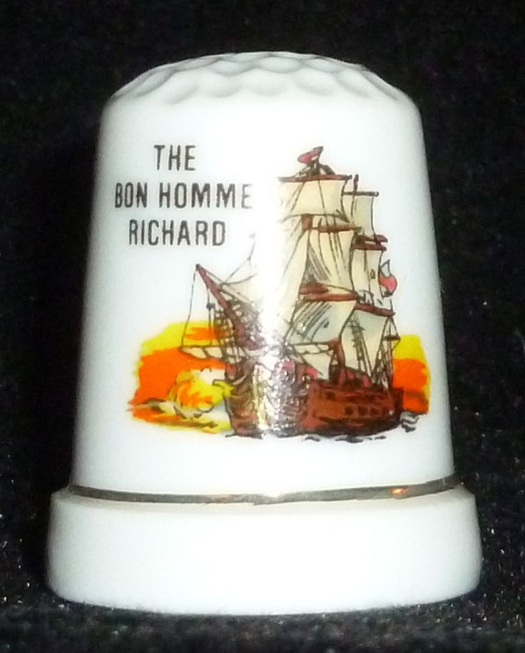 "Here we have a Bon Homme Richard Sailing Ship Thimble. It is approx. 1"" tall. It is in good condition. It does have some minor wear and imperfections."