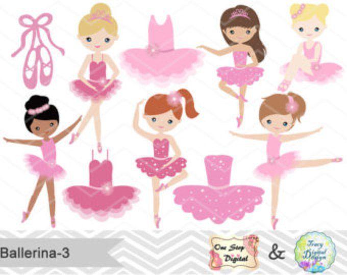 Digital Ballerina Clipart, Pink Ballet Girl Clip Art, Dancing Girl Clipart, Pink Ballet Dancer Clip Art, Cute Little Girl Clipart  0179