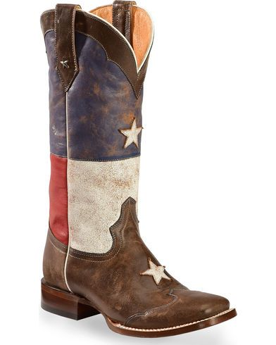 Roper Distressed Texas Flag Cowgirl Boots - Square Toe | Sheplers