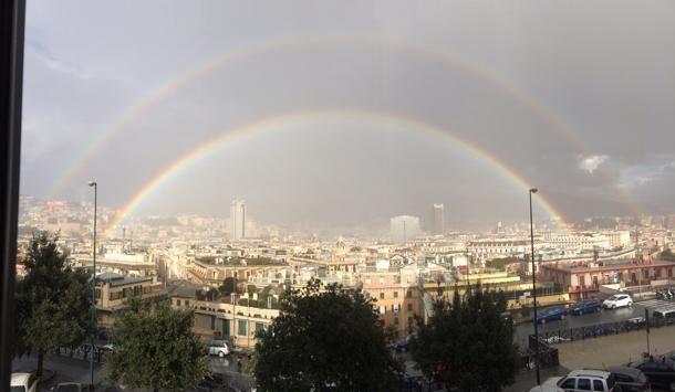 Doppio arcobaleno a #Genova, foto di Elena