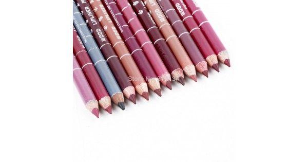 Profesional lápiz perfilador labial a prueba de agua de mezcla Lip Liner lápiz 15 CM 12 colores