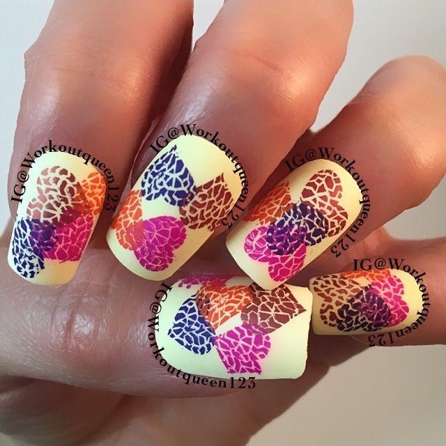 IG@workoutqueen123  Cracked broken hearts polishes used #colorclub Macaroon Swoon #mundodeunas Copper-41,Tutti-69,Violet-14,Geranium-53, stamping plate #bundlemonster BM-411 #nailartchallengefeb #nail #nails #nailart #nailporn #nailswag #nailpolish #nails2inspire #notd #nailsofinstagram #nailsoftheday #manicure #nailitdaily #weloveyournailart #nailaddict #nailartclub #perfectlilmani