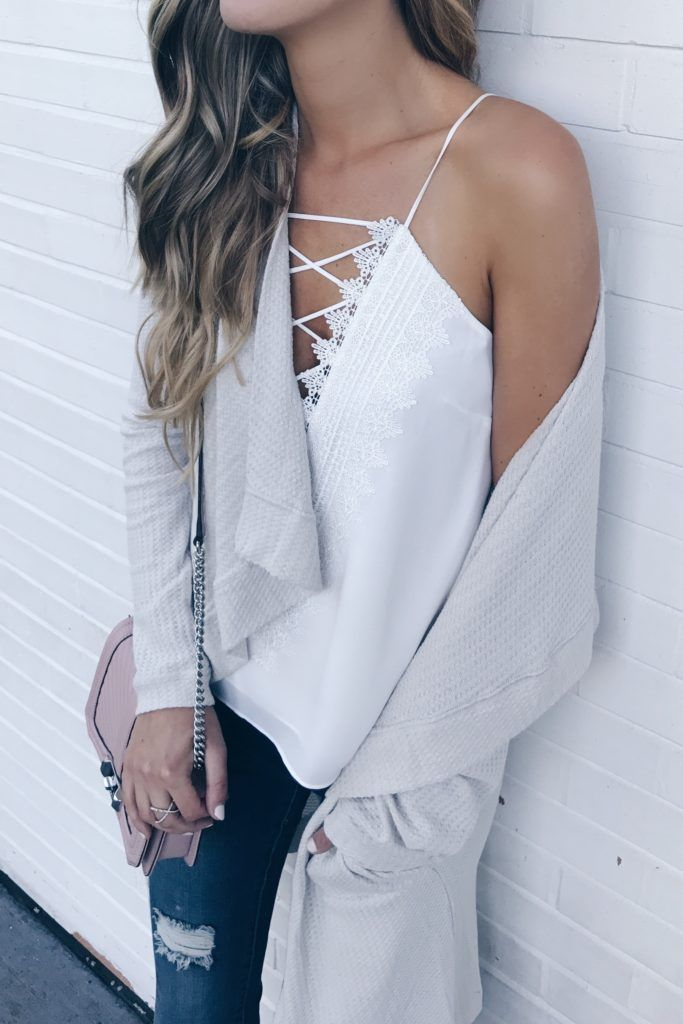 fall-transition-outfits-white-wafy-lace-up-camisole-on-pinterestingplans