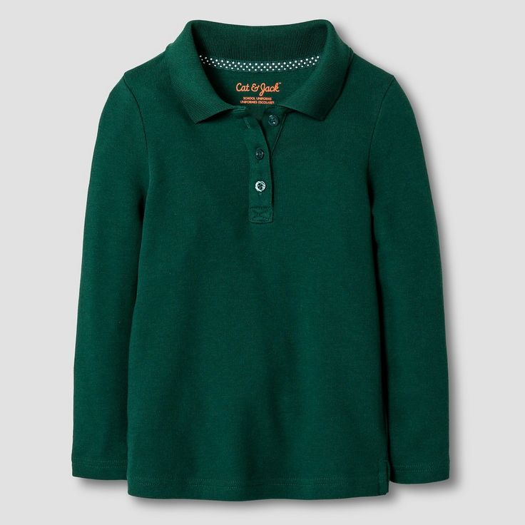 Toddler Girls' Long Sleeve Interlock Polo Shirt Cat & Jack - Green 5T, Toddler Girl's