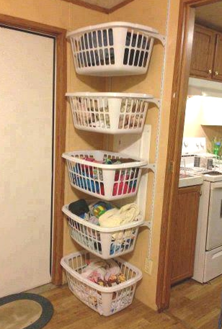 Saw this on Facebook....good idea even in the garage. I have shelves in my laundry room that hold baskets but this would work as long as the supports are in the studs!