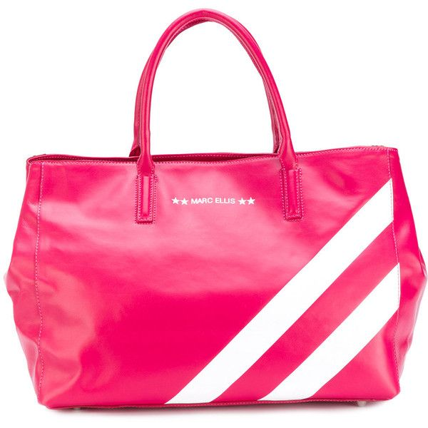 Marc Ellis striped tote ($240) ❤ liked on Polyvore featuring bags, handbags, tote bags, pink, leather totes, leather tote handbags, striped tote bag, leather tote purse and stripe tote bag