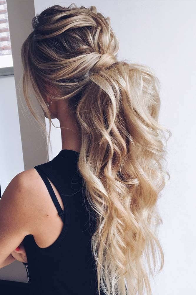 Curly Ponytail Hairstyle For Prom Night Ponytail It Is High Time To Think About Prom Hairst Elegant Wedding Hair Prom Ponytail Hairstyles Braided Hairstyles