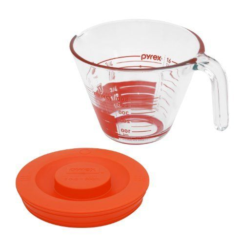 Pyrex GripRite 2-Cup Measuring Cup with Plastic Cover and SiliconeBottom, Read from Above Graphics by Pyrex. $15.39. Microwave and oven safe glass. Nests for easy storage. Non Porurous glass wont absorb odors or stains. Bold read from above graphics. New contemporary design ideal for measuring, mixing and pouring. Pyrex griprite 2-cup measuring cup with plastic cover and siliconebottom, read from above graphics
