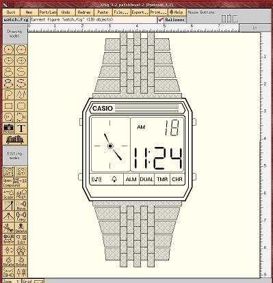 Watch drawing in xfig program