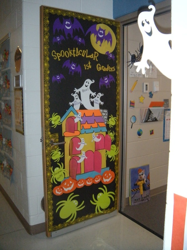 teaching in flip flops 2010 2011 class photos my halloween door that haunted house took forever - Cute Halloween Door Decorating Ideas