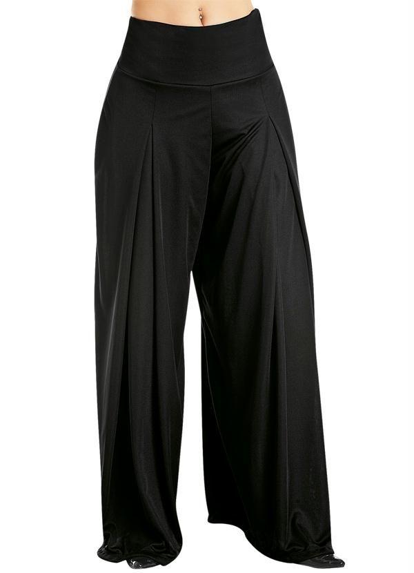 Calça pantalona com cós largo