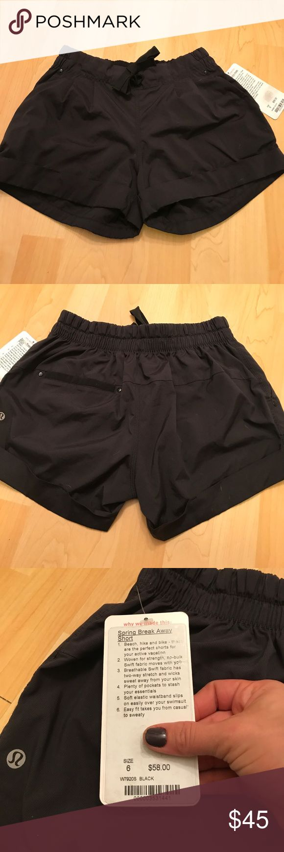 """Lululemon Spring Break Away Short 6 NWT New with tags. Black. 3"""" inseam. See tags for more details. lululemon athletica Shorts"""