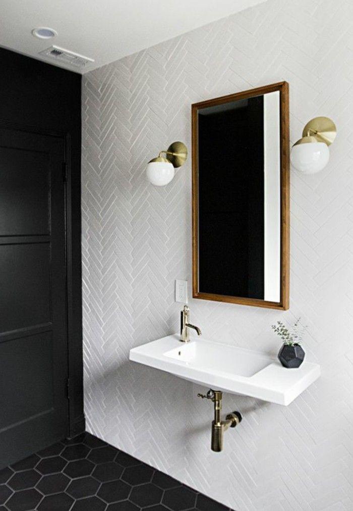 plafonnier salle de bain design pas cher, miroir rectangulaire salle de bain blanc noir