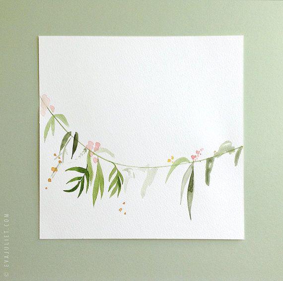 "Cepa ORIGINAL de pintura - guirnalda floral acuarela pintura - arte - 7,5 ""x…"