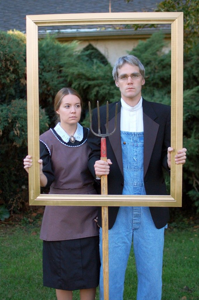 This awesome American Gothic inspired costume, plus other great costume ideas for grownups using clothes you probably already have!