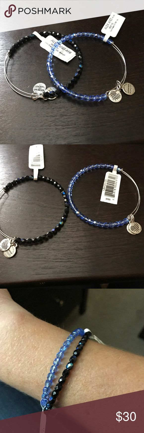 Alex and Ani set of beaded bracelets Alex and Ani silver set of two beaded bracelets sky, which is a sparkling blue and Midnight, which is a sparkling blue and black. Cute set. New with retail tags Alex & Ani Jewelry Bracelets