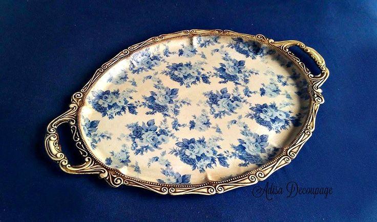 Adisa Decoupage tray antique vintage