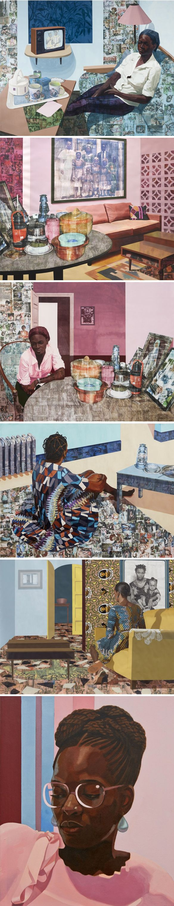 njideka akunyili crosby (combination of collage, drawing, painting, printmaking, and photo transfers) <3