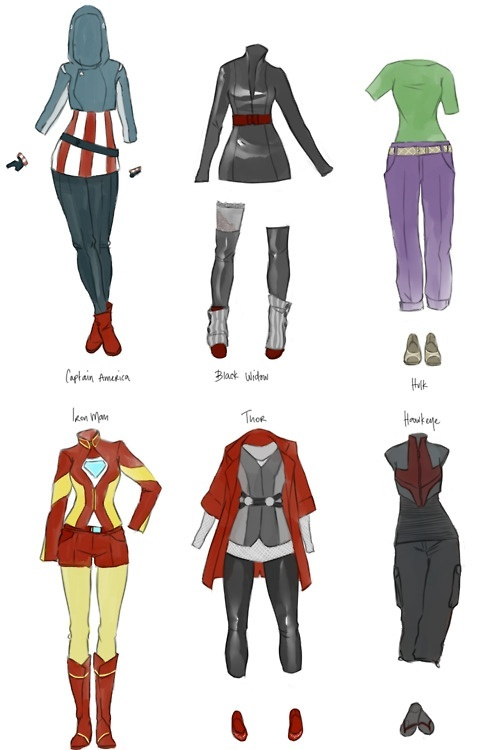 Avengers costumes female versions for Captain America, Black Widow, Hulk, Iron Man, Thor, and Hawkeye: Inspiration Outfits, Avengers Outfits, Irons Man, Avengers Fashion, Captain America, Super Heroes, The Avengers, Superhero, Avengers Costumes