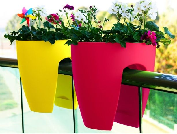 stylish practical and colourful greenbo planters turn railings into gardens - Railing Planters