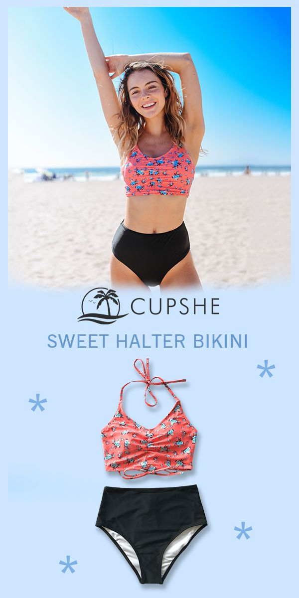 8b5ce7e36d5f4 Cupshe high neck bikini tops are a must-have this season. Cool, easy ...