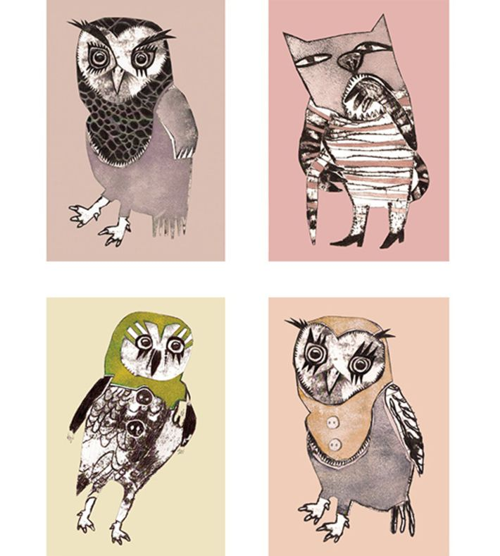 Pack of 4 illustrations size: A5  Wise owl, Catman, Shy owl and Baby owl  Each illustration fits a standard size A5 frame  Shipped in a protective cardboard envelope  Danish artist Monika Petersen studied illustration at St Martins College of Art and Design UK. Following her graduation, she worked in London for several years before returning to Copenhagen where she is now based.  Her work has been featured in many magazines including Elle, cover and Rum. Her designs has also been ...