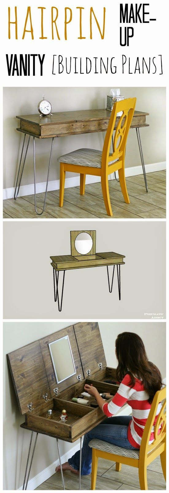 I love this! Free building plans to make my own  DIY hairpin leg, make-up vanity.